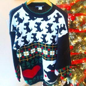 Ugly Christmas Sweater Scottish Terrier Dog Medium